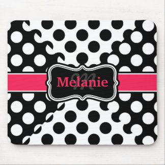 Chic Polka Dots Hot Pink Black White Custom Name Mouse Pad