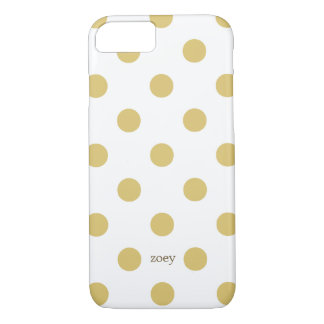 Chic Polka Dots iPhone 7 case (Golden/White)