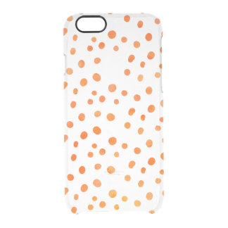 Chic Polka Dots | Orange Watercolor Clear iPhone 6/6S Case