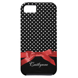 Chic Polka Dots with Red Ribbon Personalized iPhone 5 Case