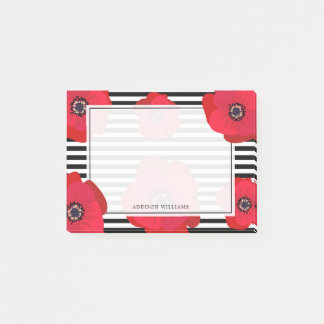 Chic Poppies & Stripes - Add Your Name Post-it Notes