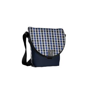 chic preppy blue black gingham pattern monogram messenger bag