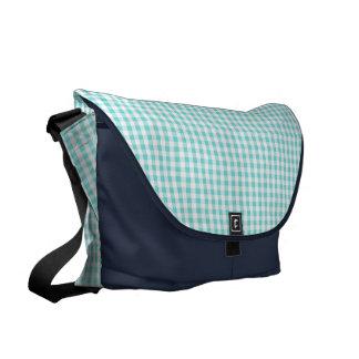 chic preppy turquoise gingham pattern monogram messenger bag