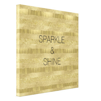 Chic Pretty Gold Stripes Canvas Print