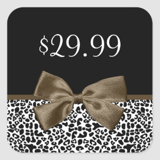 Chic Price Tags Brown Ribbon Trendy Leopard Print Sticker