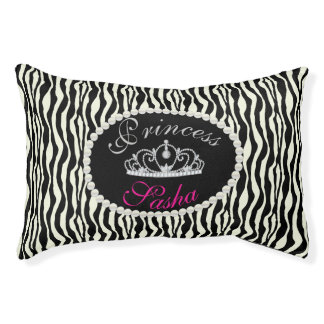Chic Princess Zebra Print Pattern Name Monogram Pet Bed