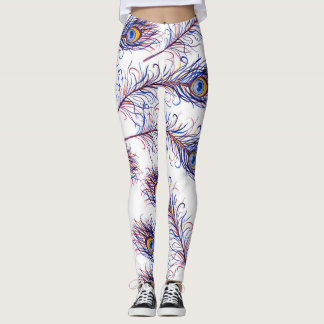 Chic Purple and Blue Peacock Feathers Leggings