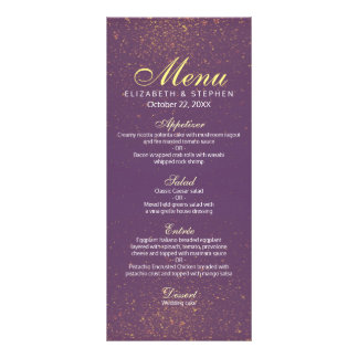 Chic Purple and Gold Glitter Sparkle Wedding Menu Personalised Rack Card