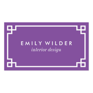 Chic Purple and White Greek Key Pack Of Standard Business Cards