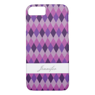 Chic Purple Argyle With Name Case