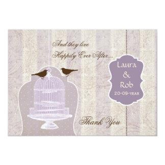 Chic purple bird cage, love birds Thank You 13 Cm X 18 Cm Invitation Card