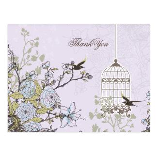 Chic purple bird cage, love birds Thank You Post Card
