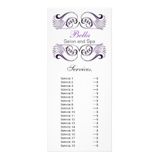 chic Purple, black and white Services rack card