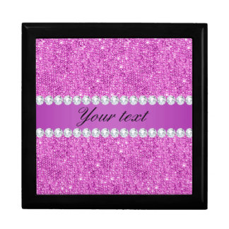 Chic Purple Faux Sequins and Diamonds Gift Box