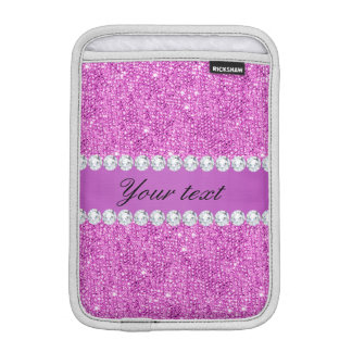 Chic Purple Faux Sequins and Diamonds iPad Mini Sleeves