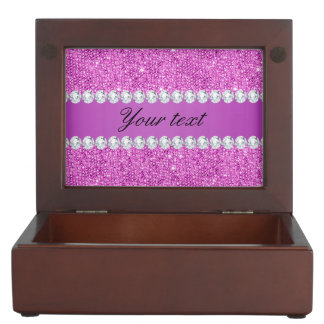 Chic Purple Faux Sequins and Diamonds Keepsake Box