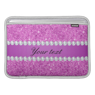 Chic Purple Faux Sequins and Diamonds Sleeve For MacBook Air
