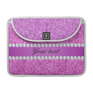 Chic Purple Faux Sequins and Diamonds Sleeves For MacBooks