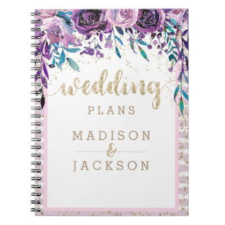 Chic Purple Floral Champagne Gold Wedding Planner Notebooks