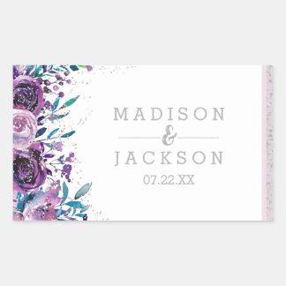 Chic Purple Floral & Silver Wedding Monogram Rectangular Sticker