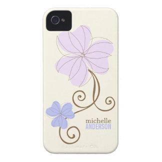 Chic Purple Florals Case-Mate iPhone 4 Cases