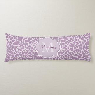 Chic Purple Giraffe Print With Monogram and Name Body Cushion