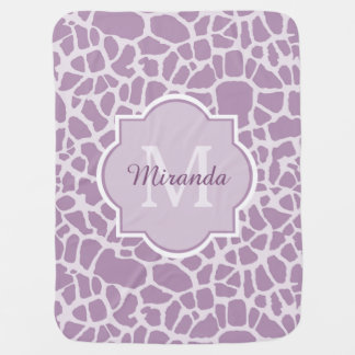Chic Purple Giraffe Print With Monogram and Name Buggy Blanket