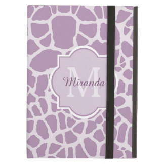 Chic Purple Giraffe Print With Monogram and Name Cover For iPad Air