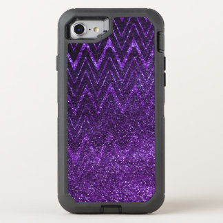 Chic Purple Glitter Gradient Chevron Pattern OtterBox Defender iPhone 7 Case