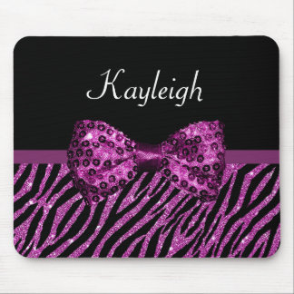 Chic Purple Glitter Zebra Print Luxe Bow With Name Mouse Pad