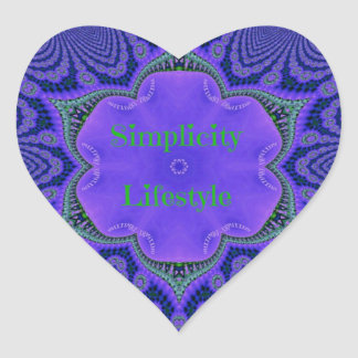 Chic Purple Lavender 'Simplicity Lifestyle' Heart Sticker