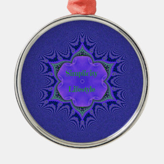 Chic Purple Lavender 'Simplicity Lifestyle' Metal Ornament