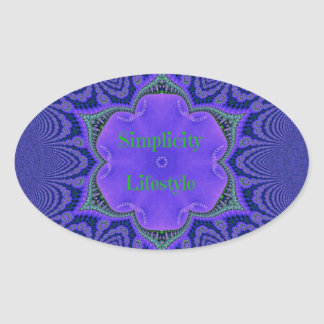 Chic Purple Lavender 'Simplicity Lifestyle' Oval Sticker