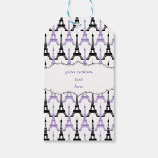 Chic Purple Paris Eiffel Tower Party Gift Tags