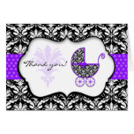 Chic Purple Polka Dot Damask Baby Shower Thank You Note Card