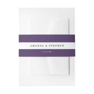 Chic Purple Stripes Invitation Belly Band