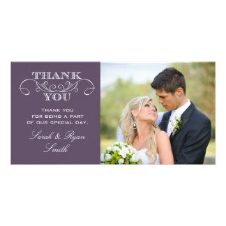 Chic Purple Wedding Photo Thank You Cards Customised Photo Card