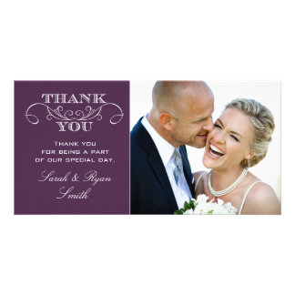 Chic Purple Wedding Photo Thank You Cards Photo Card