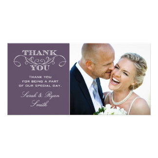 Chic Purple Wedding Photo Thank You Cards Photo Greeting Card