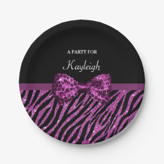 Chic Purple Zebra Print FAUX Glitz Bow With Name Paper Plate
