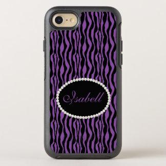 Chic Purple Zebra Print Monogram Case