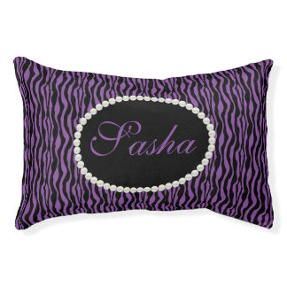 Chic Purple Zebra Print Pattern Name Monogram Pet Bed