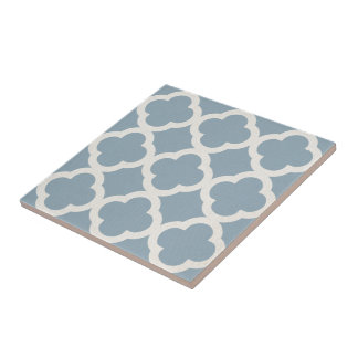Chic Quatrefoil Pattern in Blue on Canvas Look Ceramic Tile
