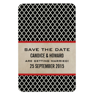 Chic Quatrefoil Save the Date Magnet Red