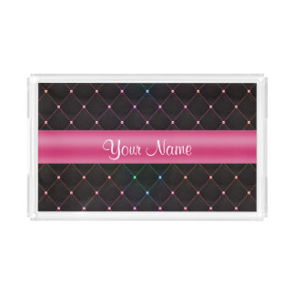 Chic Quilted Pink Black Colorful Personalized Acrylic Tray