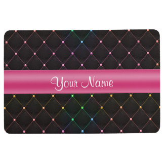 Chic Quilted Pink Black Colorful Personalized Floor Mat