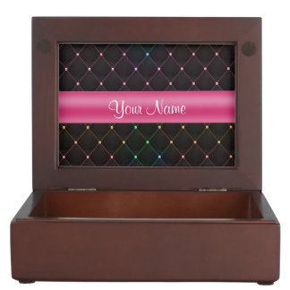 Chic Quilted Pink Black Colorful Personalized Keepsake Box