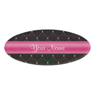 Chic Quilted Pink Black Colorful Personalized Name Tag