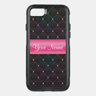 Chic Quilted Pink Black Colorful Personalized OtterBox Commuter iPhone 8/7 Case