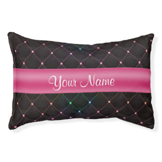 Chic Quilted Pink Black Colorful Personalized Pet Bed
